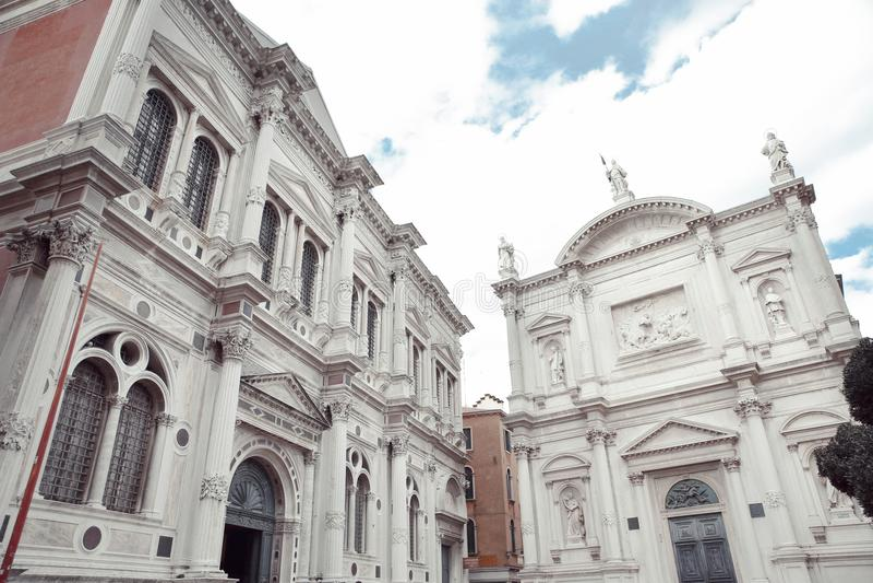 Scuola Grande di San Rocco and church Chiesa San Rocco in Venice royalty free stock images