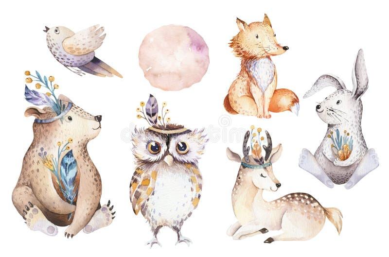 Scuola materna della Boemia dell'animale del coniglio e dell'orso del fumetto del bambino dell'acquerello sveglio per l'asilo, de illustrazione vettoriale