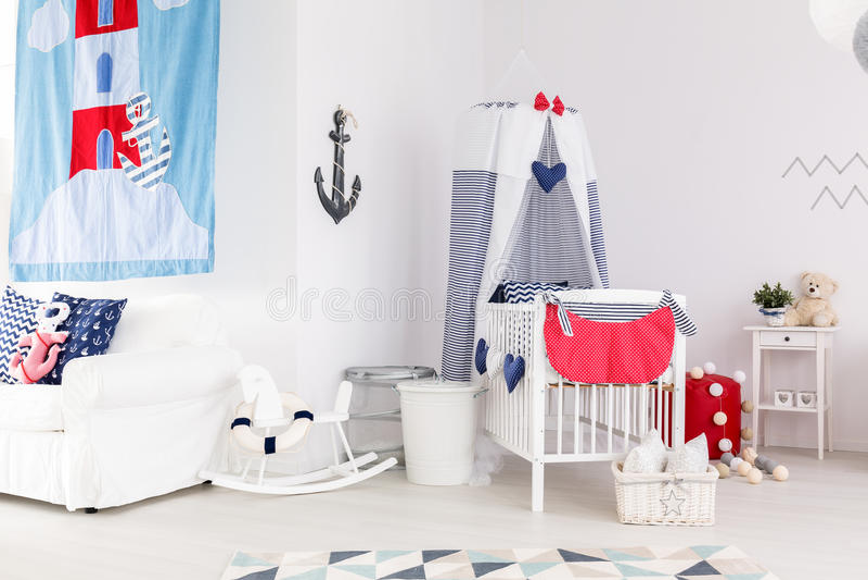 Scuola materna nautica di tema con i giocattoli fotografia stock