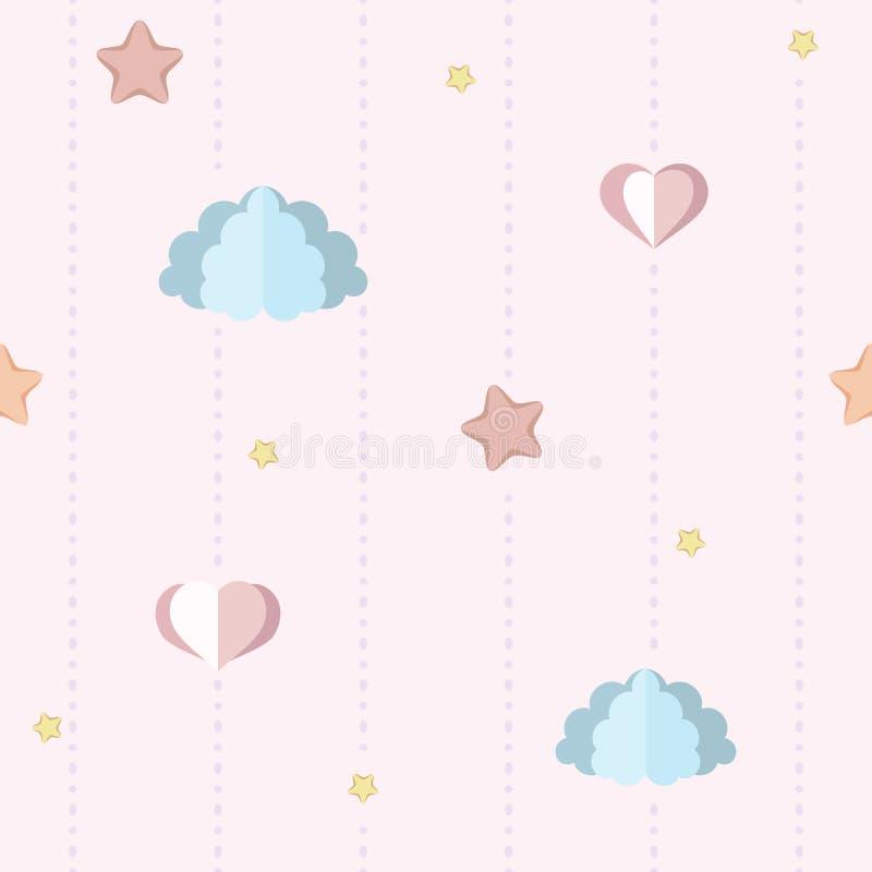 Scuola materna sveglia, carta da parati della camera da letto del ` s dei bambini con le nuvole di carta, stelle e cuori Modello  illustrazione vettoriale