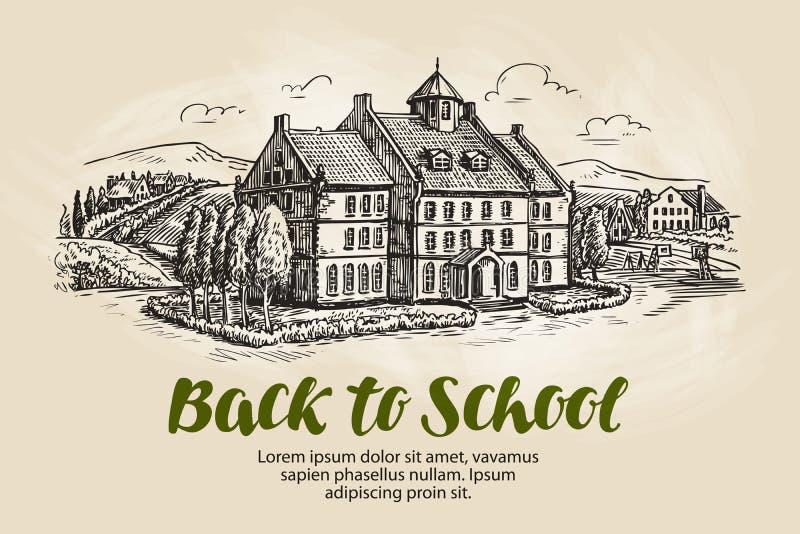 Scuola, schizzo del paesaggio Istituto universitario, simbolo di istruzione Illustrazione d'annata di vettore illustrazione di stock