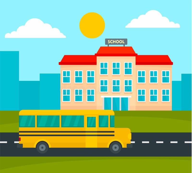 Scuolabus che guida al fondo della scuola, stile piano royalty illustrazione gratis
