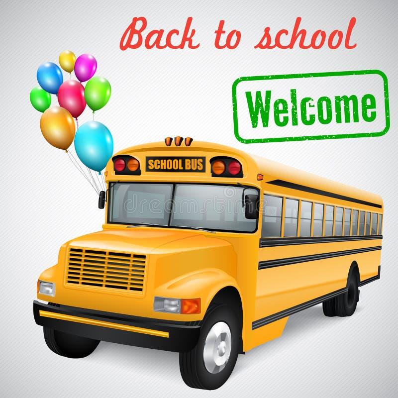 Scuolabus con i palloni illustrazione vettoriale