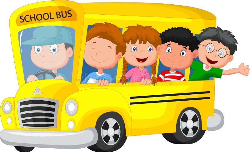 Scuolabus con il fumetto felice dei bambini illustrazione di stock