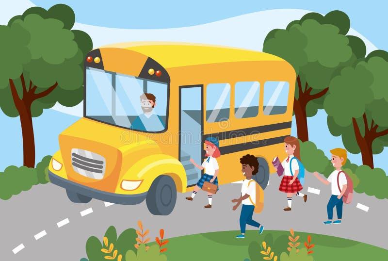 Scuolabus con le ragazze e gli studenti dei ragazzi con lo zaino illustrazione vettoriale