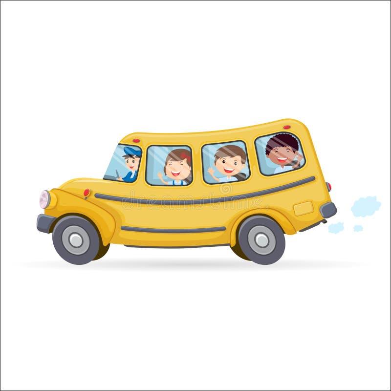 Scuolabus divertente Bambini che guidano sullo scuolabus illustrazione di stock