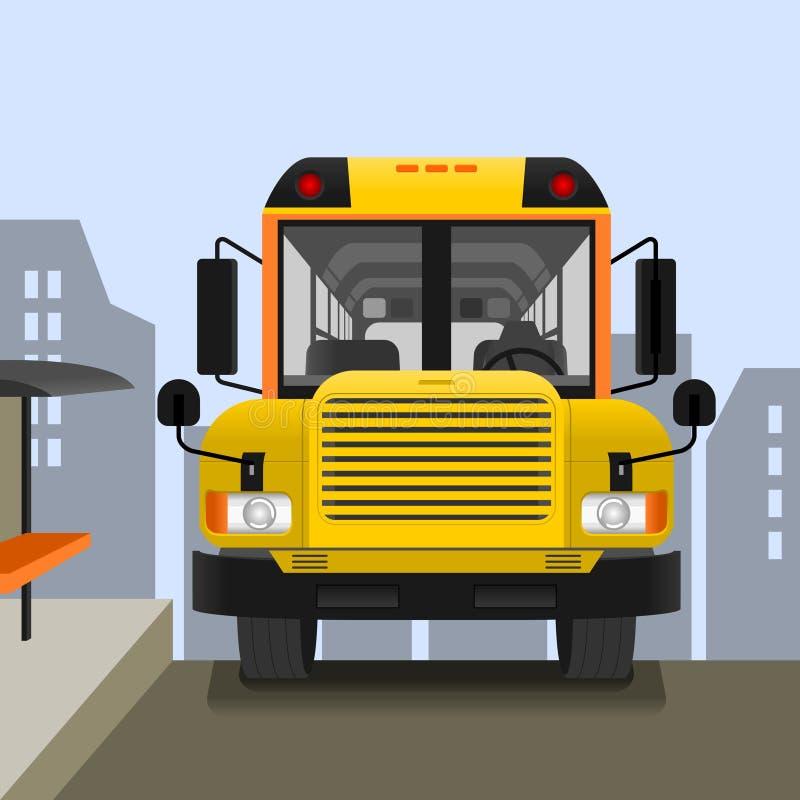 Scuolabus sulla strada illustrazione di stock