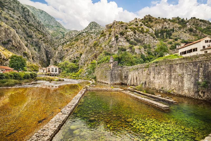 Fortification walls in Old Town in Kotor, Montenegro stock photo