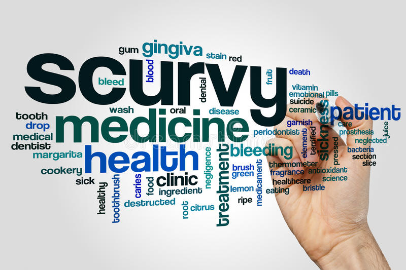 Scurvy word cloud. Concept on grey background royalty free stock images