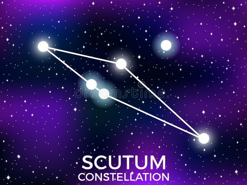 Scutum constellation. Starry night sky. Cluster of stars and galaxies. Deep space. Vector. Illustration royalty free illustration