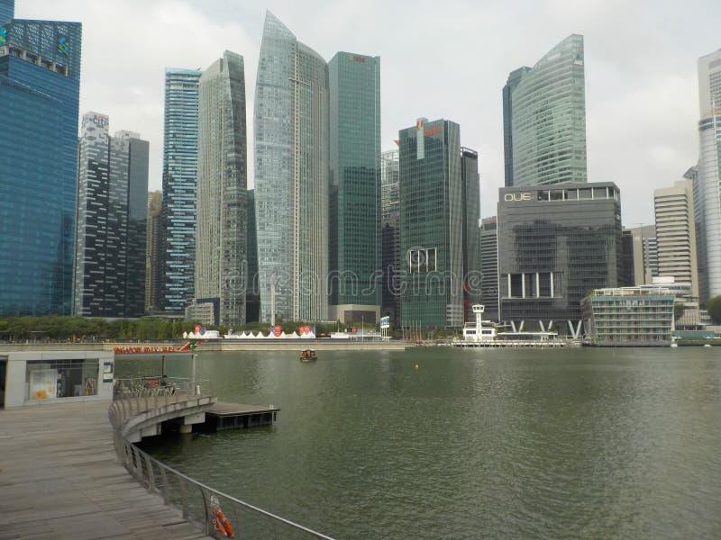 Scyscrapers de Singapour, vue de Marina Bay image libre de droits