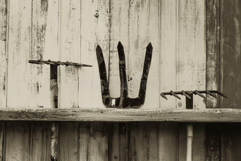 Scythe e pitchfork do ancinho ferramenta da agricultura da exploração agrícola na parede de madeira foto de stock