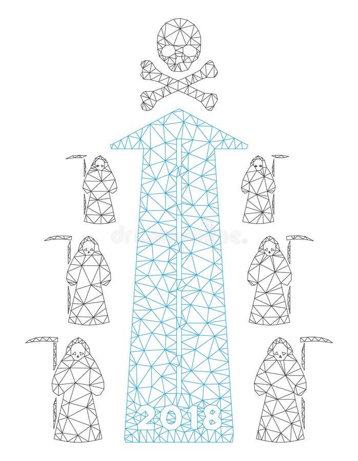 2018 Scytheman Future Road Polygonal Frame Vector Mesh Illustration royalty free illustration