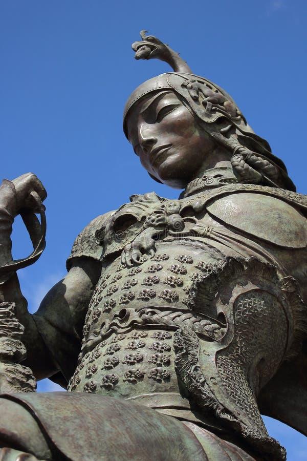 Scythian König vom bildhauerischen Ensemble ` Zar-Jagd ` durch den Buryat-Bildhauer Dashi Namdakov in der Stadt von Kyzyl-Republi lizenzfreies stockfoto