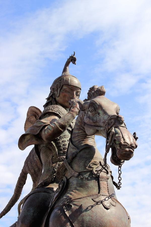 Scythian king on horseback from the sculptural ensemble Tsar hunt by the Buryat sculptor Dashi Namdakov. Kyzyl, Tuva, Russia - April 20, 2015: Scythian king on royalty free stock image