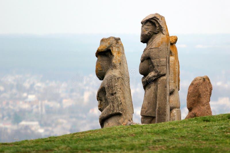 Scythian kurgan with anthropomorphic stone sculptures in Izyum, Eastern Ukraine.  stock image