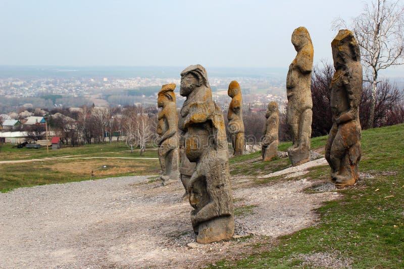 Scythian kurgan with anthropomorphic stone sculptures in Izyum, Eastern Ukraine.  royalty free stock photos