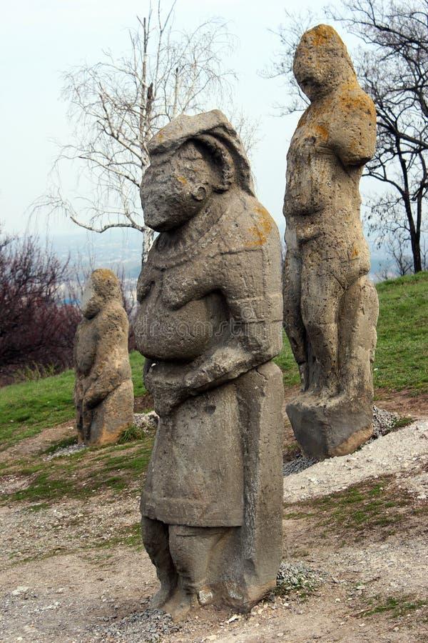 Scythian kurgan with anthropomorphic stone sculptures in Izyum, Eastern Ukraine.  stock images