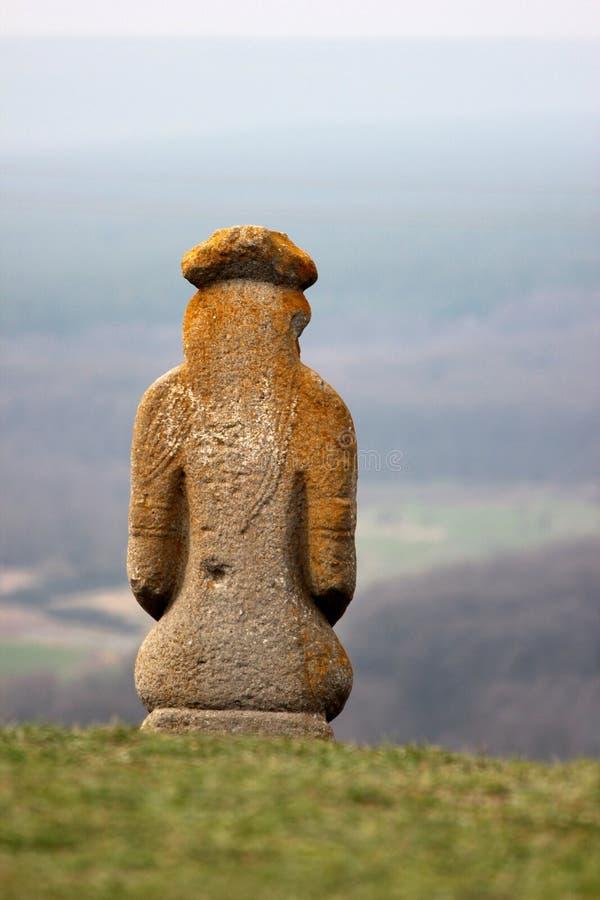 Scythian kurgan anthropomorphic stone sculptures. In Izyum, Eastern Ukraine royalty free stock image