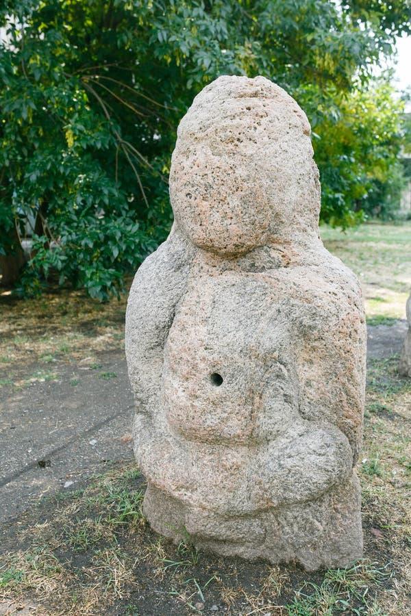 Scythian skulpterar den Anthropomorphic stenen i Berdyansk, Ukraina royaltyfri fotografi