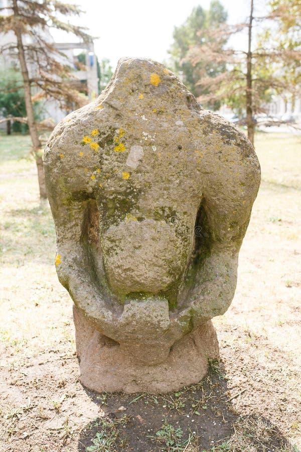 Scythian skulpterar den Anthropomorphic stenen i Berdyansk, Ukraina royaltyfria bilder