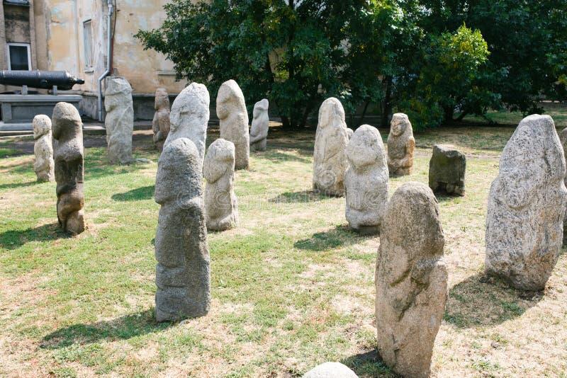 Scythian skulpterar den Anthropomorphic stenen i Berdyansk, Ukraina arkivfoto