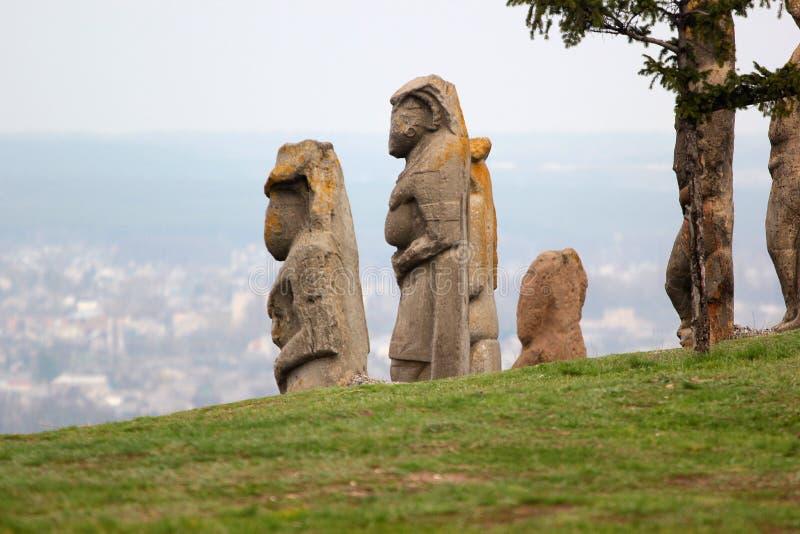 Scythian skulpterar den kurgan anthropomorphic stenen i Izyum, östliga Ukraina arkivfoton