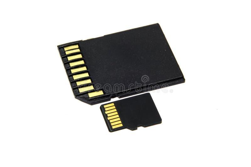 黑SD和微SD存储卡 图库摄影