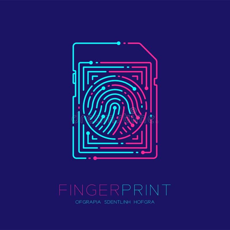 SD或内存形状指纹样式商标破折号线,小配件构思设计,桃红色编辑可能的冲程的例证蓝色和 库存例证