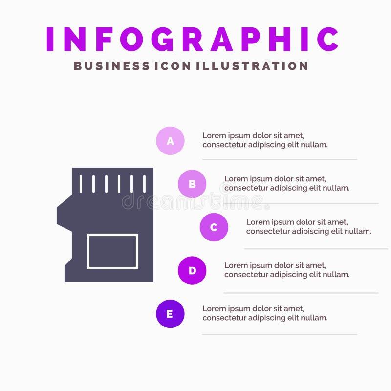 SD-карта, SD, хранение, информация о твердотельных значках, 5 шагов Фон презентации иллюстрация штока