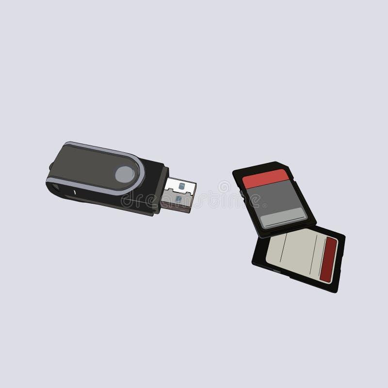 SD, cartão de memória, vetor do adaptador do usb ilustração do vetor