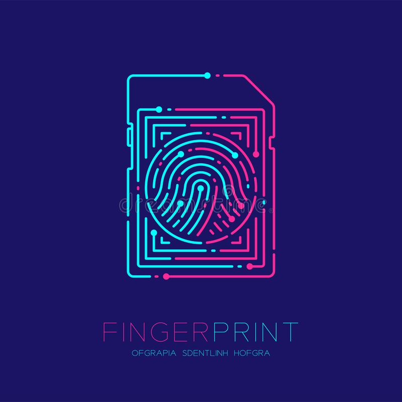 SD or memory card shape Fingerprint pattern logo dash line, Gadget concept design, Editable stroke illustration blue and pink. Isolated on dark blue background stock illustration