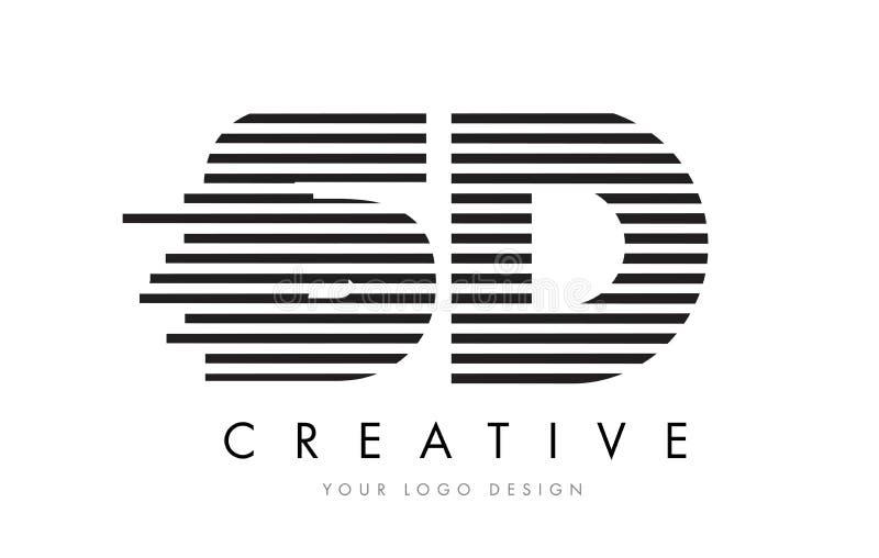 SD S D Zebra Letter Logo Design with Black and White Stripes stock illustration