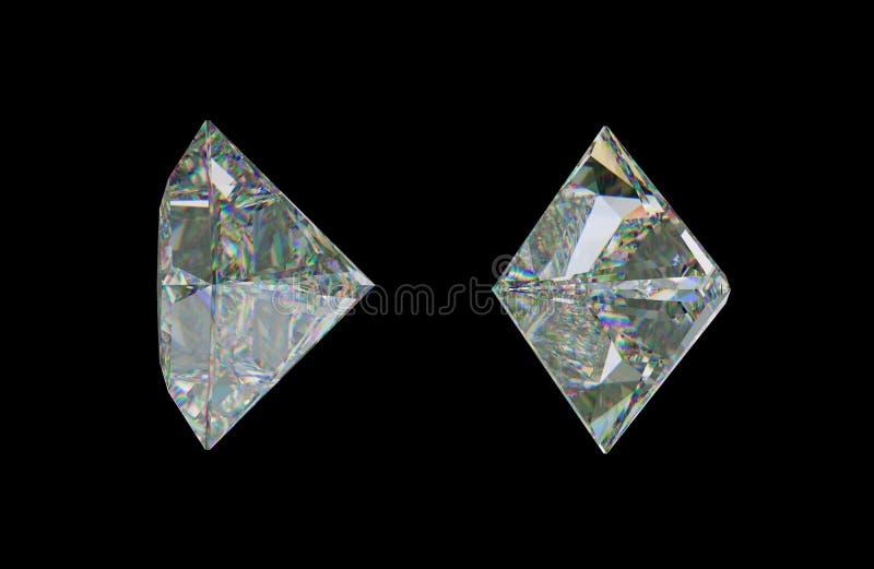 Sde views of princess cut diamond or gemstone on black stock illustration