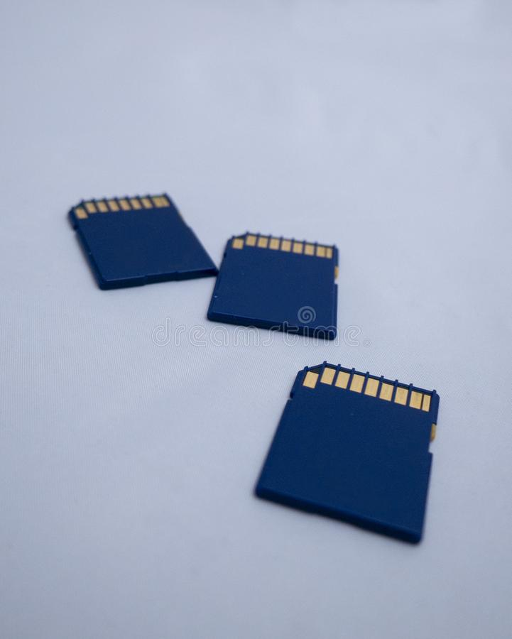 Sdhc memory cards on white background stock images