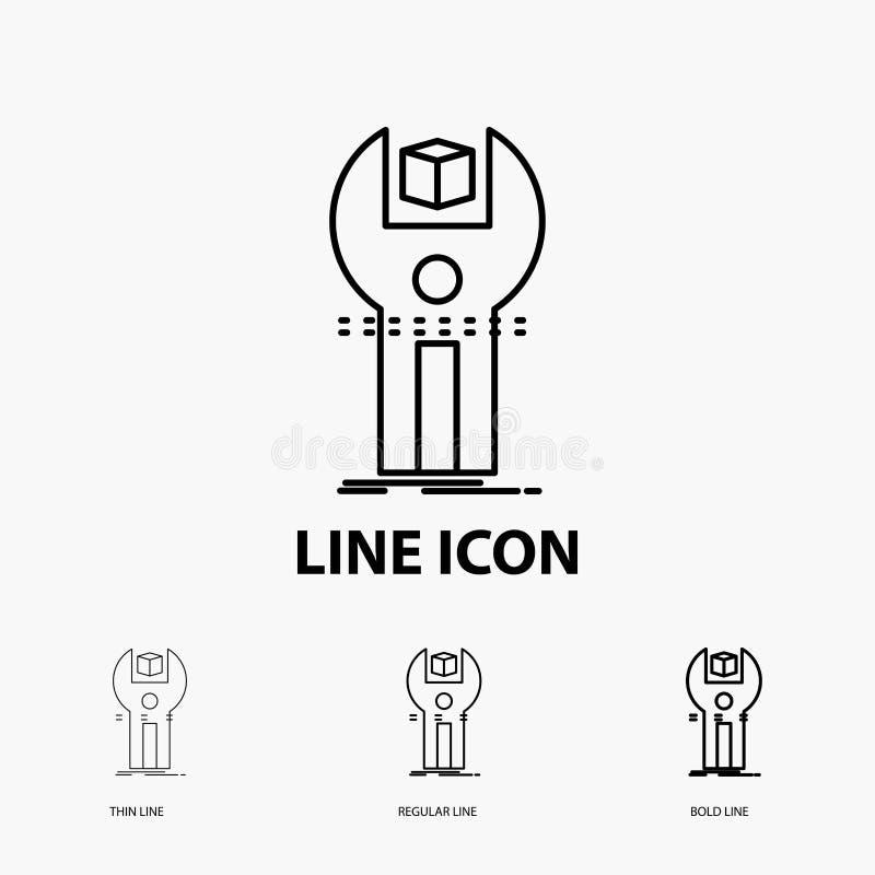 SDK, App, desenvolvimento, jogo, ícone de programação na linha estilo fina, regular e corajosa Ilustra??o do vetor ilustração do vetor