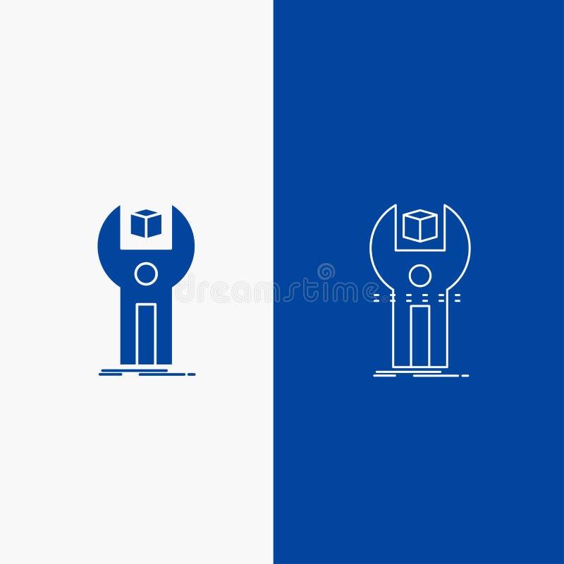 SDK, App, desenvolvimento, jogo, botão da Web da linha de programação e do Glyph na bandeira vertical da cor azul para UI e UX, W ilustração royalty free