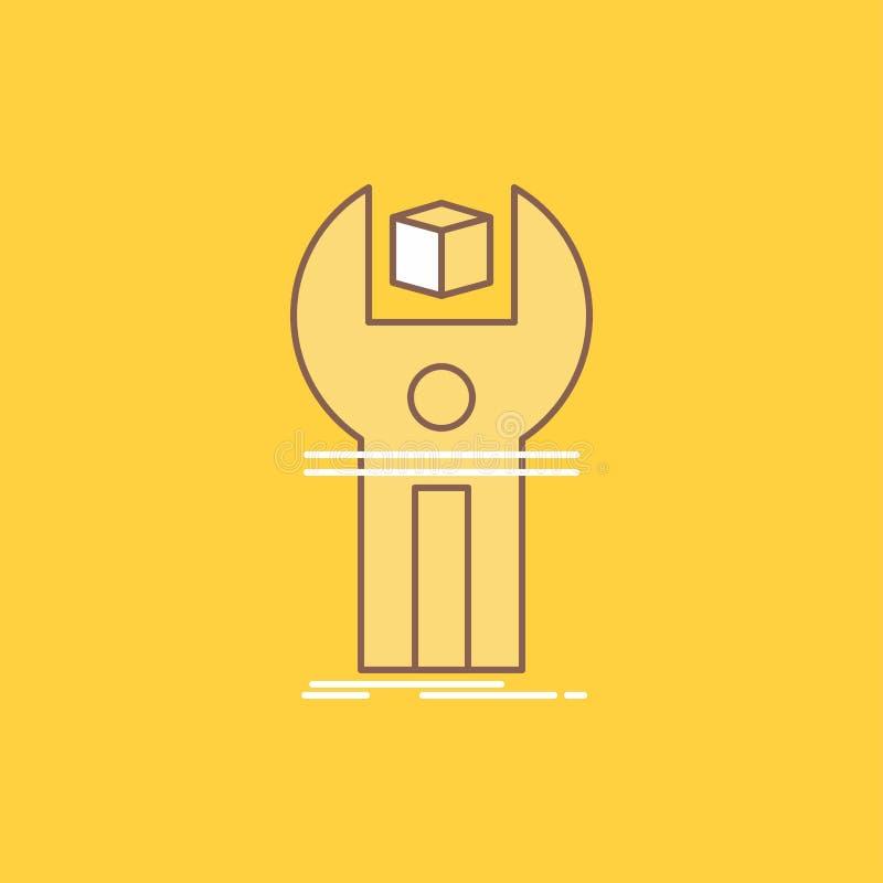 SDK, App, desenvolvimento, jogo, linha lisa de programação ícone enchido Bot?o bonito do logotipo sobre o fundo amarelo para UI e ilustração royalty free