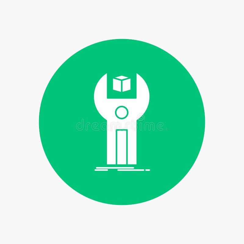 SDK, App, sviluppo, corredo, icona bianca di programmazione di glifo nel cerchio Illustrazione del bottone di vettore royalty illustrazione gratis