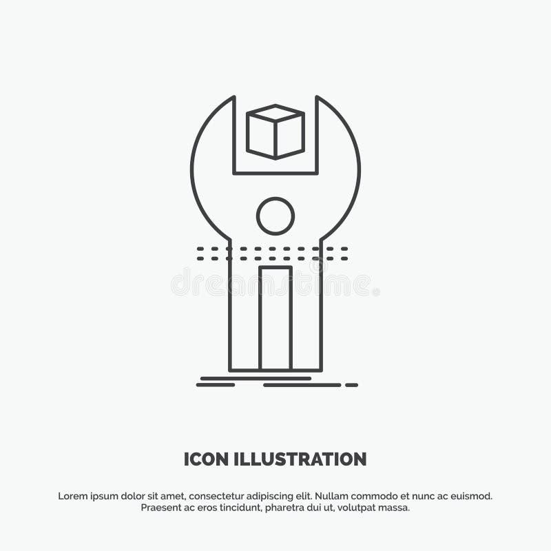 SDK, App, sviluppo, corredo, icona di programmazione Linea simbolo grigio di vettore per UI e UX, sito Web o applicazione mobile illustrazione di stock