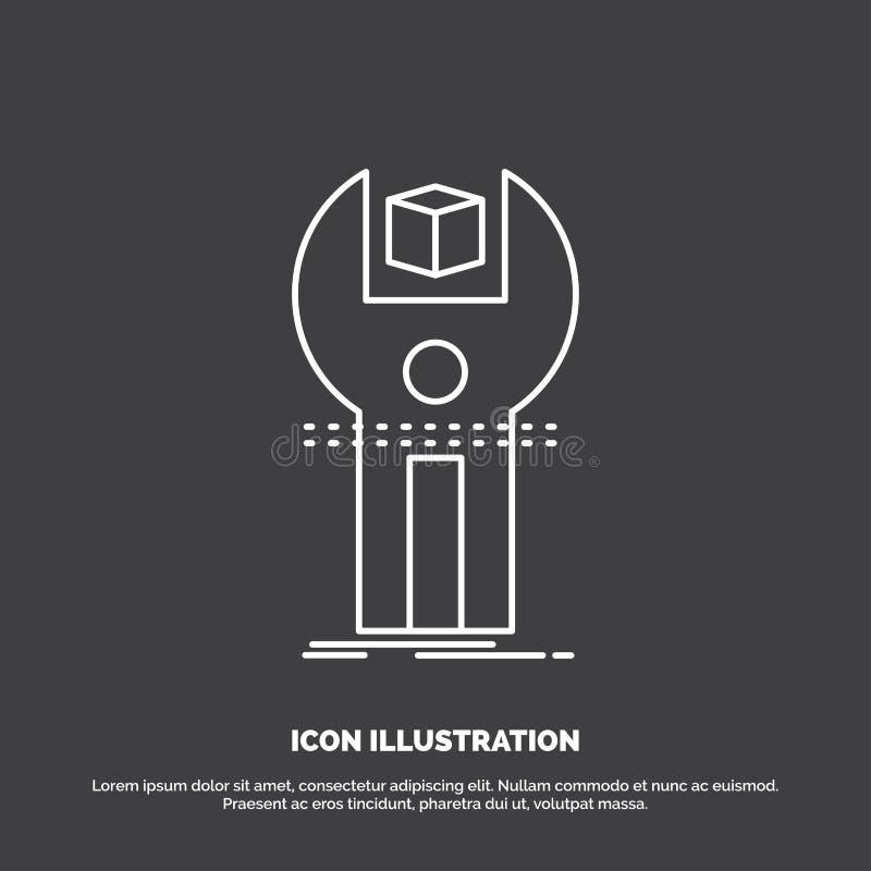 SDK, App, sviluppo, corredo, icona di programmazione Linea simbolo di vettore per UI e UX, sito Web o applicazione mobile illustrazione di stock