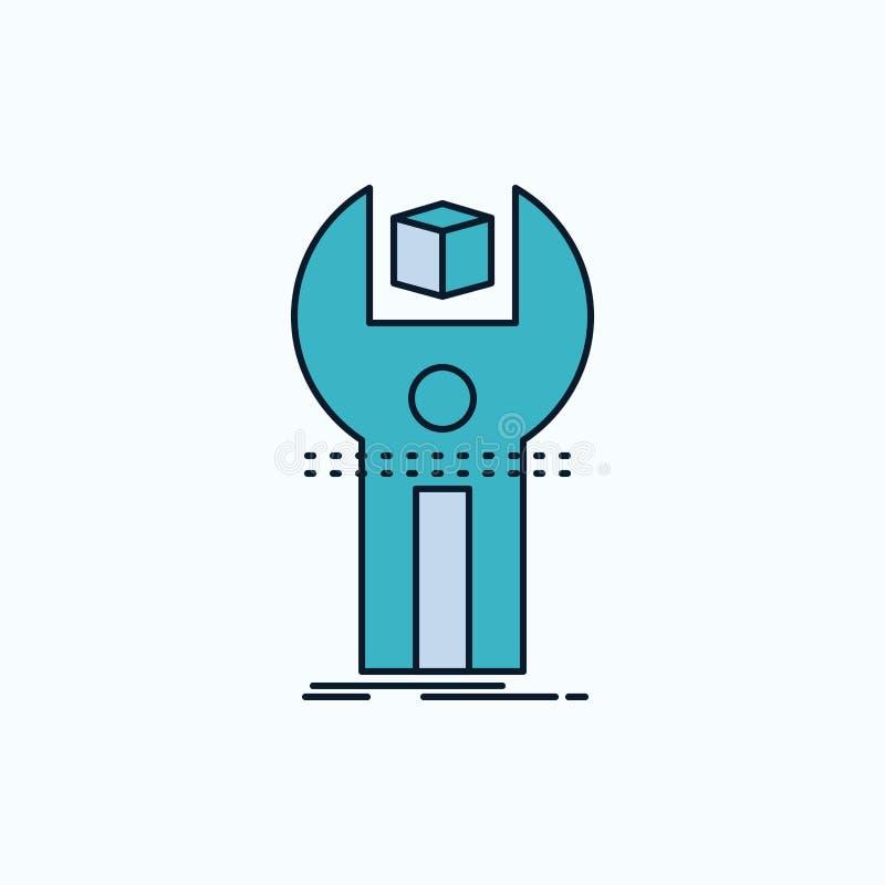 SDK, App, sviluppo, corredo, icona piana di programmazione segno e simboli verdi e gialli per il sito Web e il appliation mobile  royalty illustrazione gratis