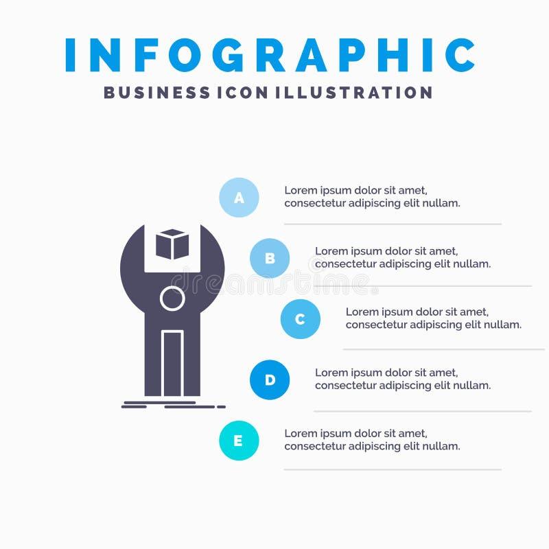 SDK, App, sviluppo, corredo, modello di programmazione di Infographics per il sito Web e presentazione Icona grigia di glifo con  royalty illustrazione gratis