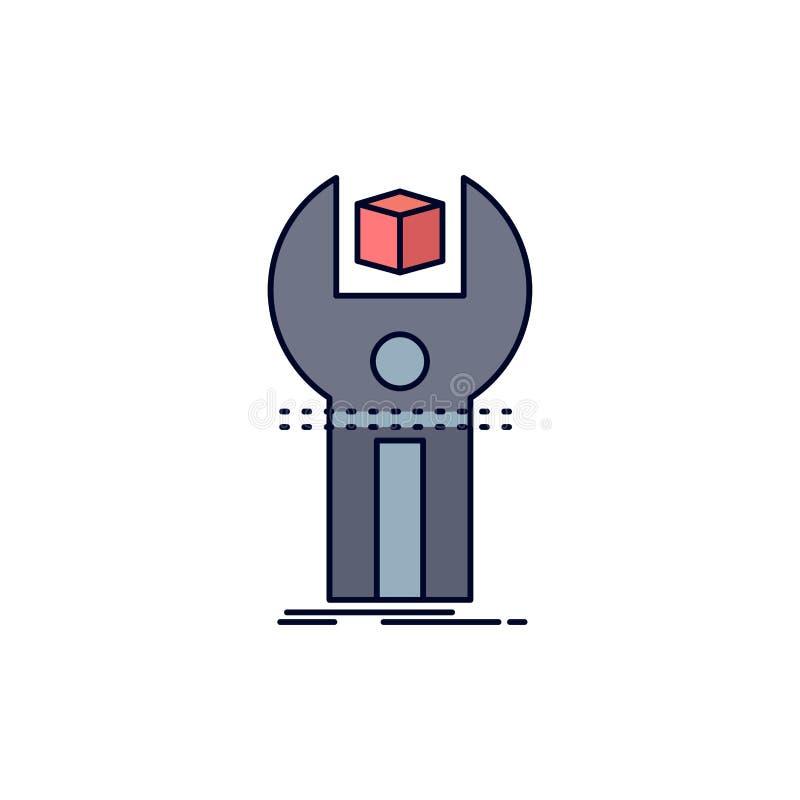 SDK App, utveckling, sats som programmerar den plana färgsymbolsvektorn royaltyfri illustrationer