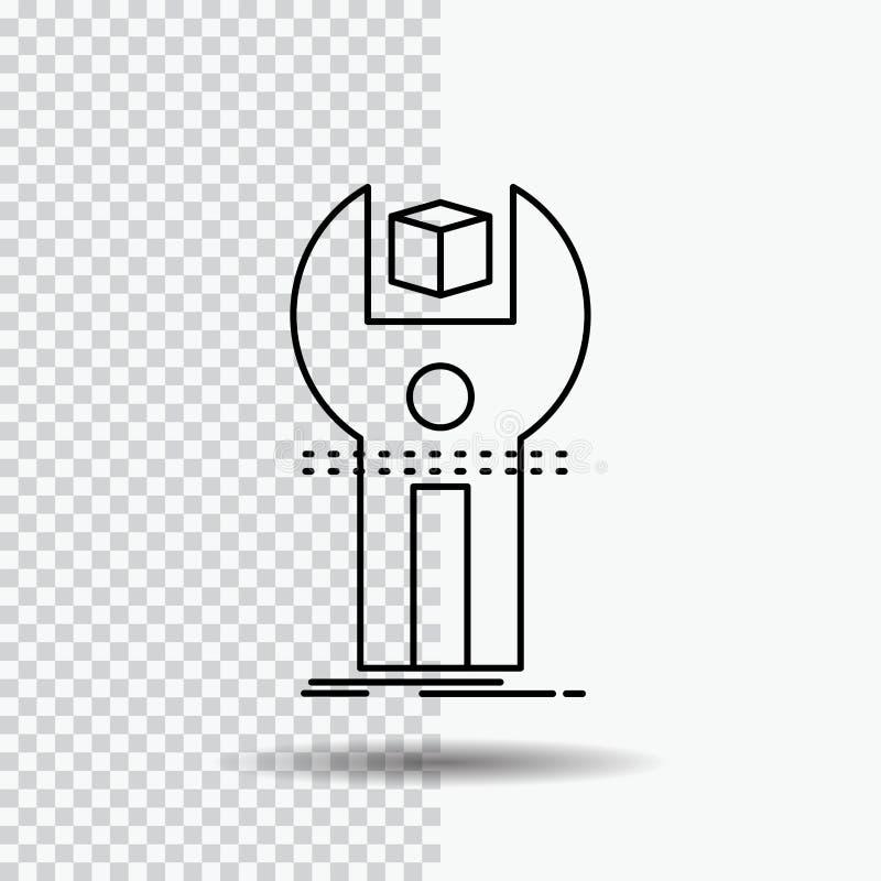 SDK App, utveckling, sats som programmerar linjen symbol på genomskinlig bakgrund Svart symbolsvektorillustration stock illustrationer