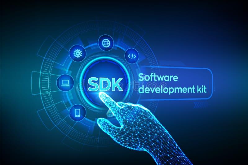 SDK Concepto de programación de la tecnología del lenguaje del equipo del desarrollo de programas en la pantalla virtual Concepto ilustración del vector