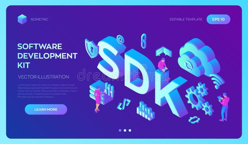 SDK Concetto di tecnologia di linguaggio di programmazione del corredo di sviluppo di software Processo di tecnologia di sviluppo illustrazione vettoriale