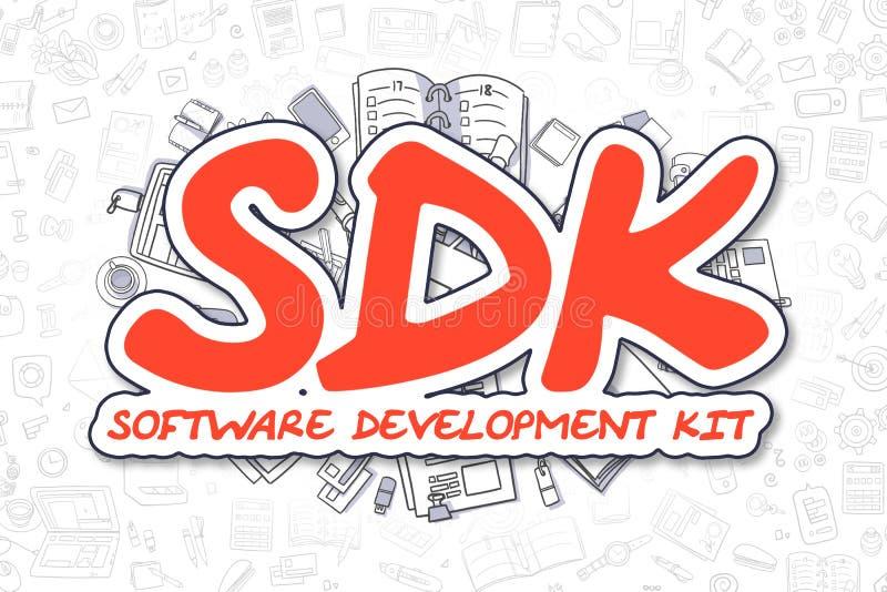 Sdk - palavra do vermelho da garatuja Conceito do negócio ilustração do vetor
