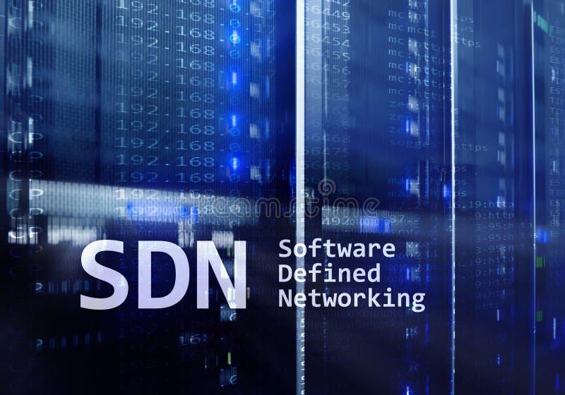 SDN, logiciel a défini le concept de mise en réseau sur le fond moderne de pièce de serveur illustration libre de droits