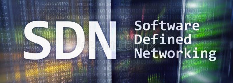 SDN, logiciel a défini le concept de mise en réseau sur le fond moderne de pièce de serveur illustration de vecteur